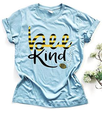 Party On! Women's Tee Shirts Denim - Denim Blue 'Bee Kind' Crewneck Tee - Women