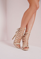 Missguided Platform Lace Up Heels Nude