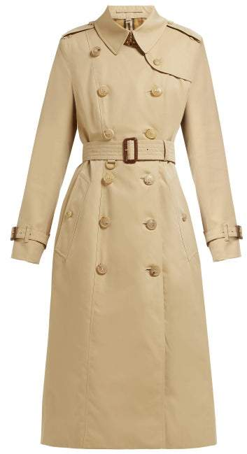 Burberry Chelsea Double Breasted Cotton Trench Coat - Womens - Beige