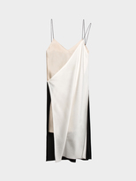DKNY Pieced V-Neck Slip Dress With Raw Edges