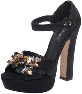 Dolce & Gabbana Black Brocade Fabric Embellished Cross Strap Platform Sandals Size 36