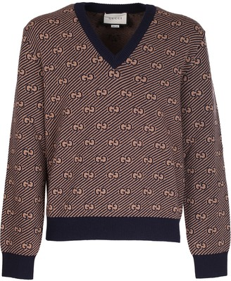 Gucci diagonal V-neck with GG motif