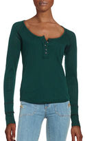 Free People Textured Long Sleeve Henley