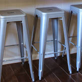 Ciel Bistro Bar Stool Silver Grey Metal, Set Of Four