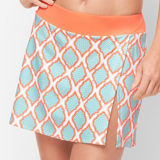 Talbots Cabana Life Vented Swim Skirt - Orange Lagoon Diamond