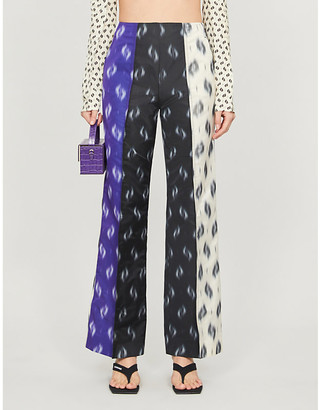 Kenzo Graphic-print wide-leg mid-rise crepe trousers