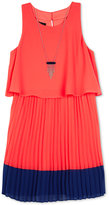 Amy Byer Popover Pleated Dress & Necklace Set, Big Girls (7-16)