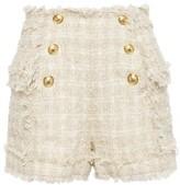 Balmain Frayed Boucle-tweed Shorts