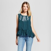 Knox Rose Women's Embroidered Paisley Peplum Tank - Knox Rose Jade
