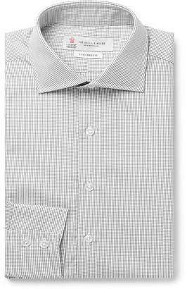 Turnbull & Asser White Checked Cotton-Poplin Shirt