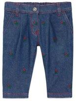 Gucci Embroidered Denim Jeans, Indigo/Red, Size 6-36 Months