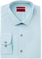 Alfani Men's Fitted Performance Stretch Easy Care Turquoise Fine Gingham Dress Shirt, Created for Macy's