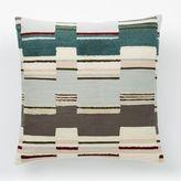 west elm Broken Stripe Crewel Pillow Cover - Frost Gray