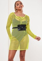 Missguided Neon Yellow Lace Up Fishnet T Shirt Dress