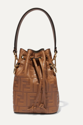 Fendi Mon Tresor Mini Embossed Leather Bucket Bag - Brown