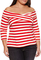 BELLE + SKY Long Sleeve Stripe T-Shirt-Womens Plus