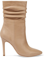 Halston Ruched Leather Boots