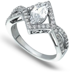 Macy's Cubic Zirconia Marquise Center Stone Split Shank Ring in Fine Silver Plate
