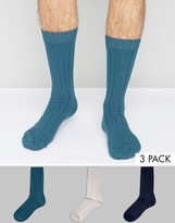 Asos Rib Boot Socks In Blue 3 Pack