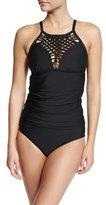 Athena Cabana Solids Crochet-Neck Tankini Swim Top, Black