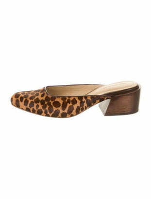 Mari Giudicelli Ponyhair Animal Print Mules Brown