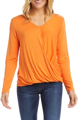 Karen Kane Long Sleeve Drape Front Top