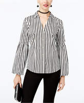 INC International Concepts I.n.c. Petite Striped Bell-Sleeve Shirt, Created for Macy's