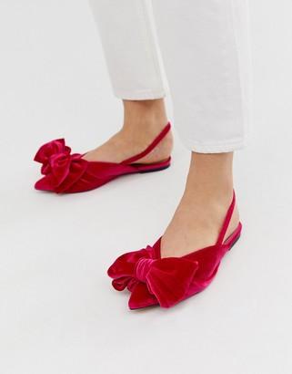 Asos DESIGN Lips bow slingback ballet flats in pink velvet