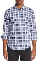 BOSS Robbie Plaid Garment Washed Long Sleeve Button-Down Shirt