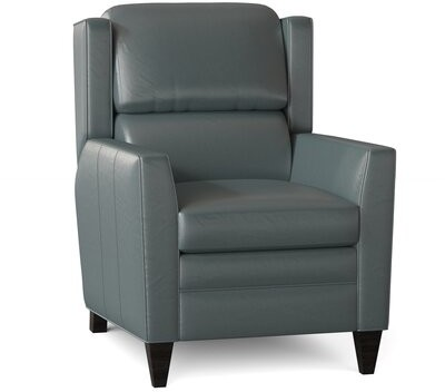"""Thumbnail for your product : Bradington-Young Samuel 31.5"""" Wide Genuine Leather Power Standard Recliner Body Fabric: Triomphe Dreamy, Leg Color: Mahogany"""
