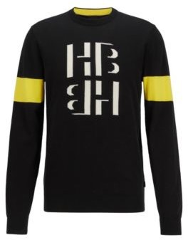 HUGO BOSS - Cotton Crew Neck Sweater With Monogram Print - Black