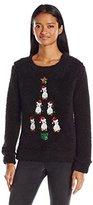 Miss Chievous Juniors Sequin Penguins Tree Soft Cozy Christmas Sweater