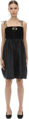 George Keburia Heart Cutout Satin & Velvet Mini Dress