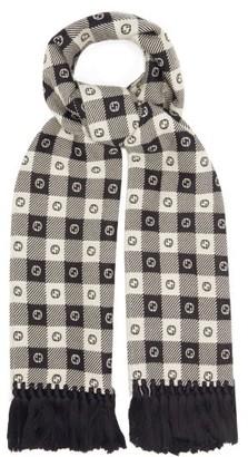 Gucci GG-logo Checked Wool-blend Scarf - White Black