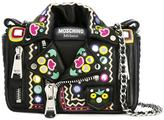 Moschino mirror embroidered biker shoulder bag