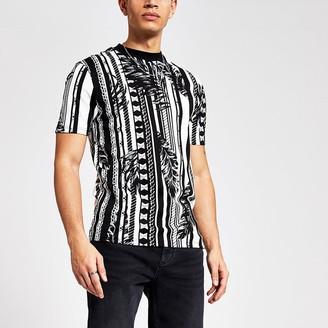 River Island Black mixed print slim fit T-shirt