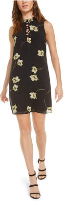 Bar III Lace-Up Floral Mini Dress