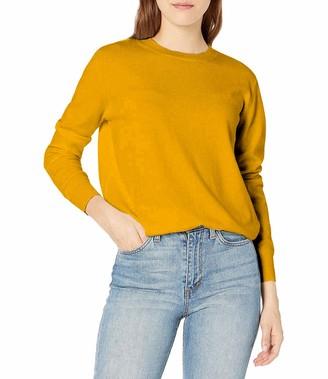QUALFORT Women's Jumper Crew Neck Long Sleeve Lightweight Sweater Pullover Black Large
