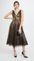Marchesa V Neck Degrade Sequin Gown