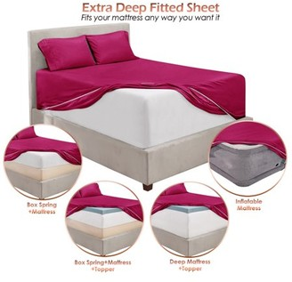 """Collection 18 Clara Clark Premium 1800 21"""" Extra Deep Pocket Fitted Sheet, Fits High Profile Mattresses with Toppers, Double Brushed Soft Microfiber, Hypoallergenic, Availible in King Queen Full Twin & Twin XL"""
