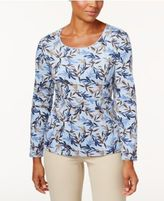 Karen Scott Print Long-Sleeve T-Shirt, Only at Macy's