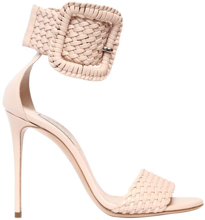 Casadei 100mm Buckled Woven Leather Sandals