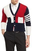 Thom Browne Colorblock Cashmere V-Neck Cardigan
