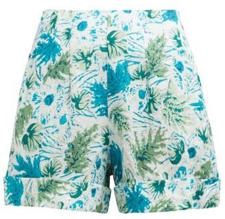 Cult Gaia Shadi Tropical Print Linen Shorts - Womens - Blue Print