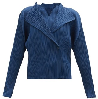 Pleats Please Issey Miyake Double-breasted Technical-pleated Jacket - Dark Blue