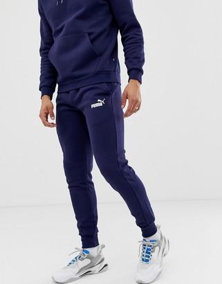 Puma Essentials skinny fit joggers in navy