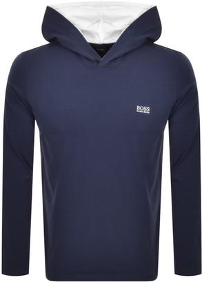 BOSS Hooded Long Sleeve T Shirt Navy