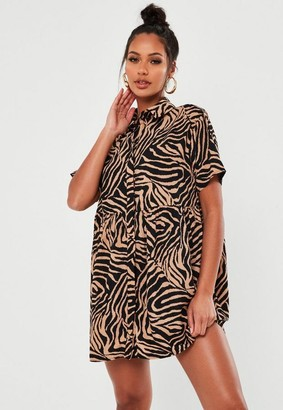 Missguided Zebra Print Smock Shirt Dress