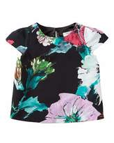 Milly Minis Paper Floral Chloe Top, Black, Size 8-14