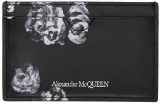 Alexander McQueen Black Roses and Skull Card Holder